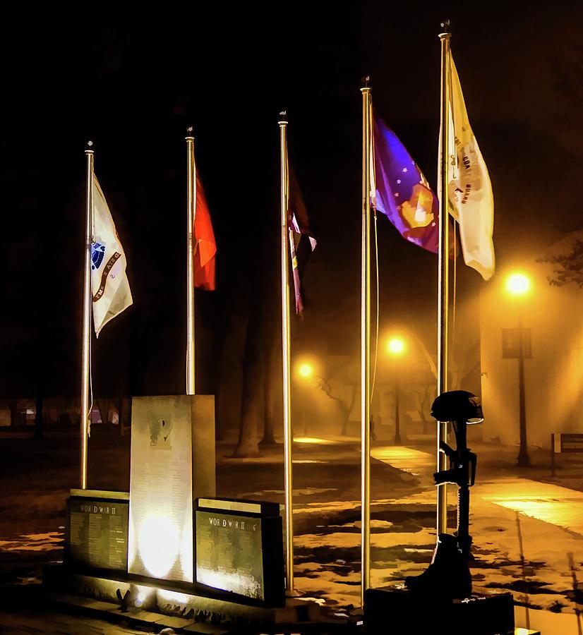 Foggy Veterans Memorial by Carl Simmerman