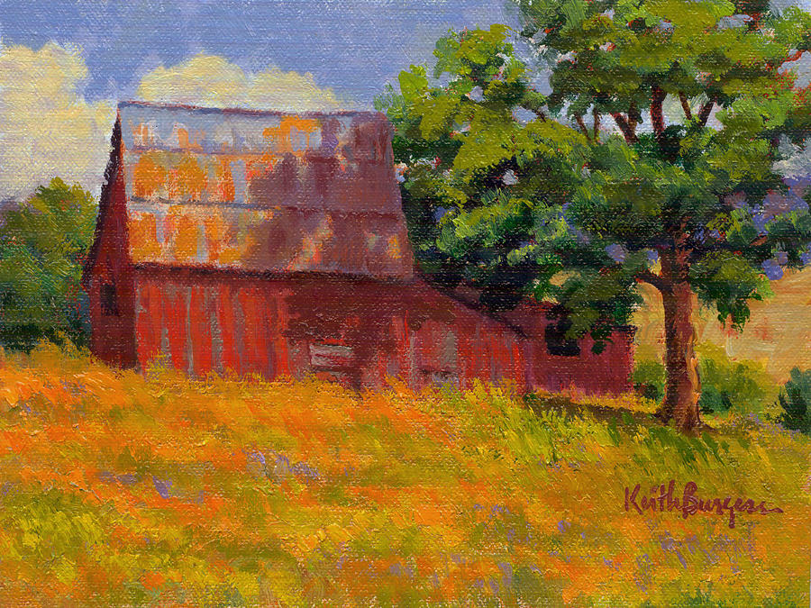 Landscape Painting - Foglesong Barn by Keith Burgess