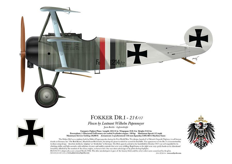 Fokker Digital Art - Fokker Dr.1 - 214/17 - March 1918 by Ed Jackson