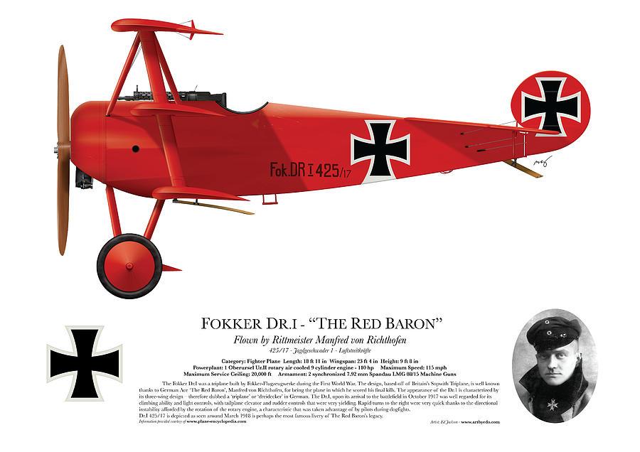 Fokker Digital Art - Fokker Dr.1 - The Red Baron - March 1918 by Ed Jackson