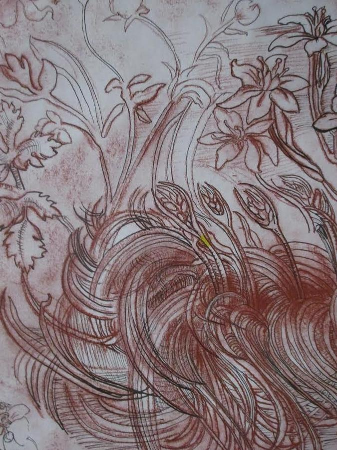 Red Drawing - Foliage by Amber Whiteman
