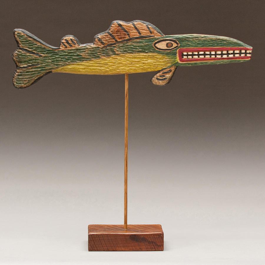Folk art fish sculpture by james neill