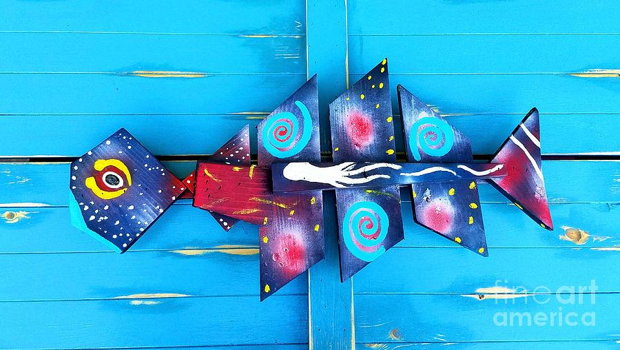 Galactic Painting - Folk Art Galactic Space Fish by Scott D Van Osdol