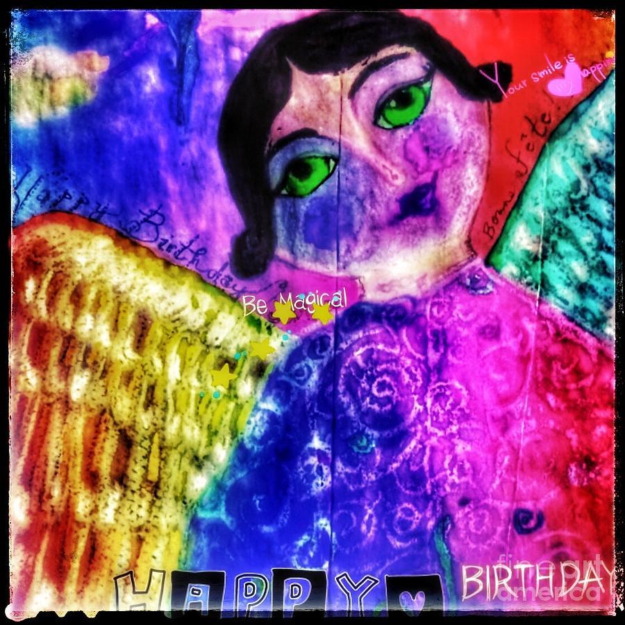 Folk art happy birthday angel by Christine Paris