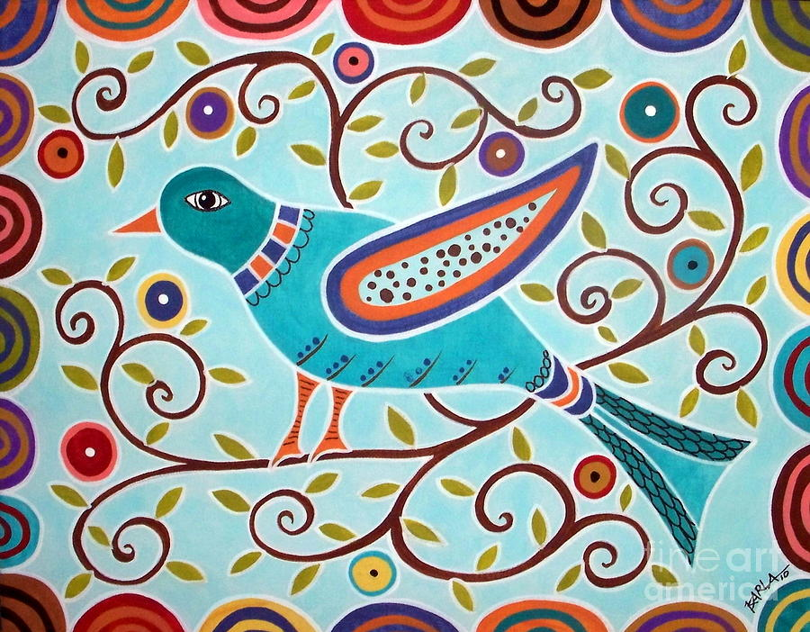 Bird Painting - Folk Bird by Karla Gerard