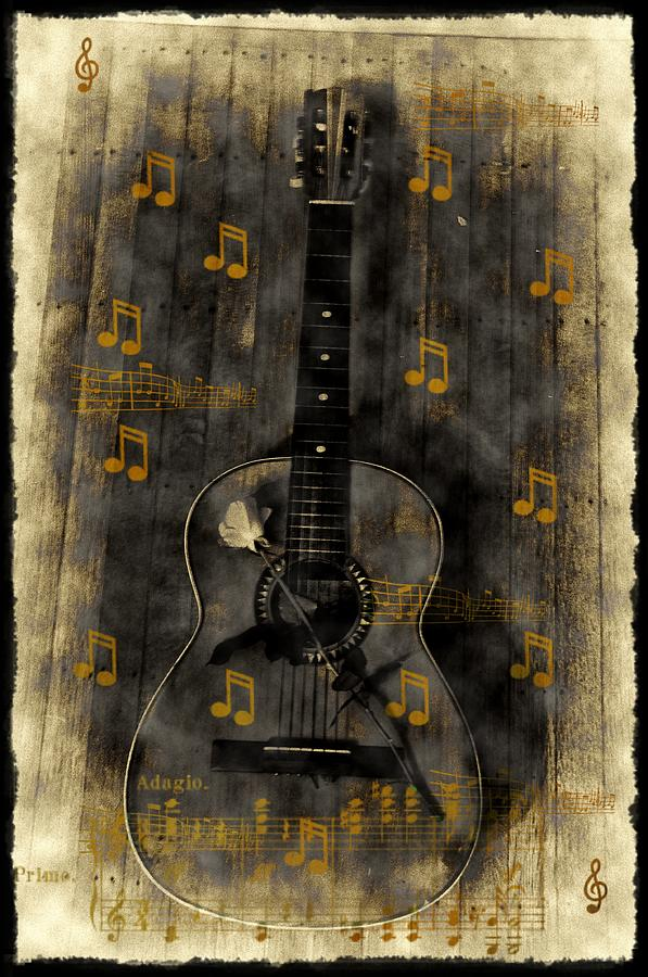 Guitar Photograph - Folk Guitar by Bill Cannon