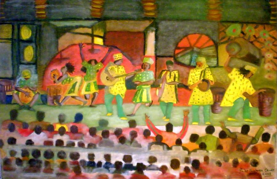 Musicians Painting - Folk Play by Philip Okoro