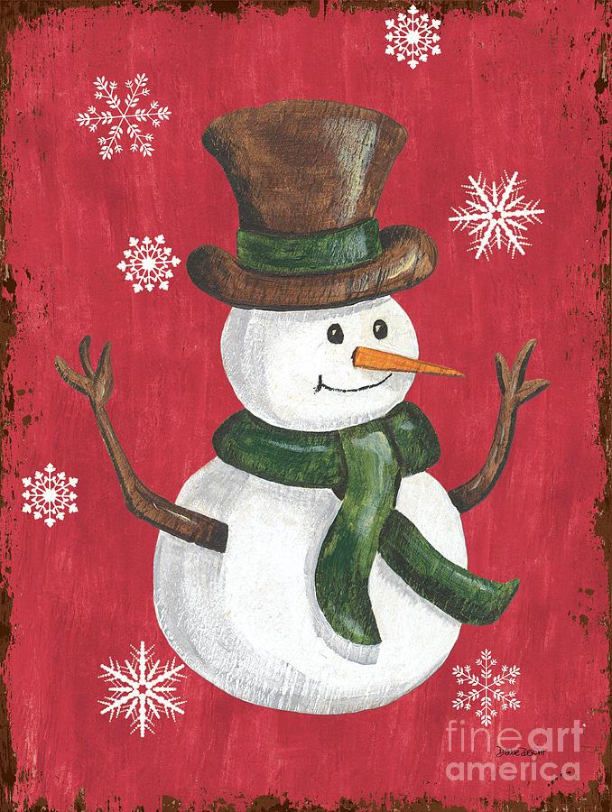 Snowman Painting - Folk Snowman by Debbie DeWitt