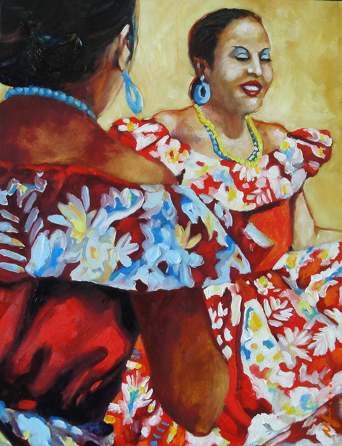 Figures Painting - Folklorica II by Monica Linville