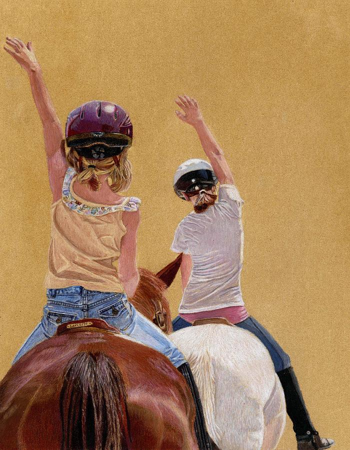 Colored Pencil Painting - Follow The Leader - Horseback Riding Lesson Painting by Patricia Barmatz