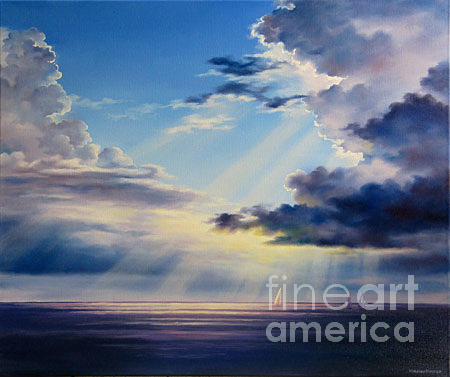 Atlantic Ocean Painting - Follow The Light by Varvara Harmon