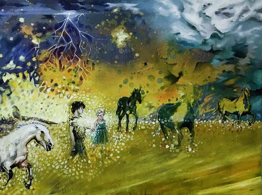 Horses Painting - Following Esme by Darren Mulvenna