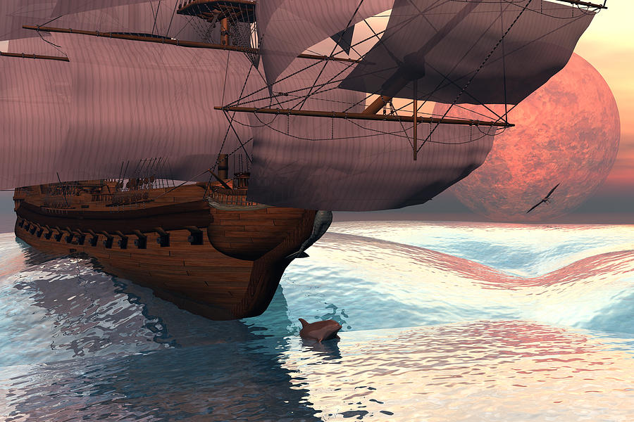 Bryce 3d Scifi Fantasy   Dolphin  tall Ship  Windjammer \sailing Ship\ Sailing Digital Art - Following The Navigator by Claude McCoy