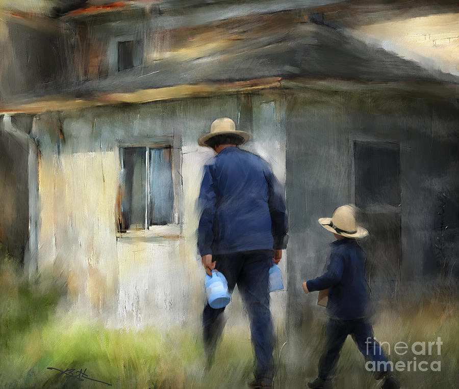 Amish Painting - Follows In His Footsteps by Bob Salo