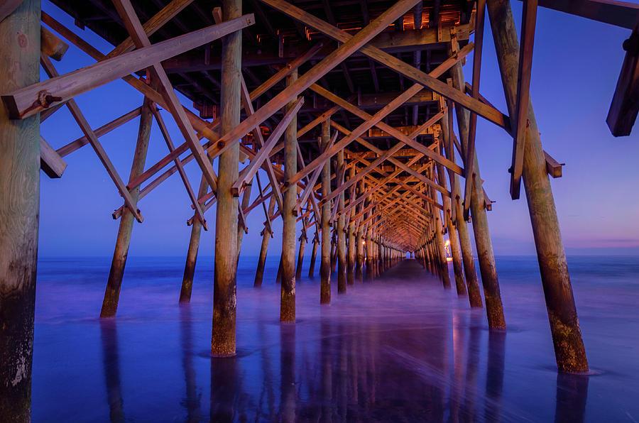 Beach Photograph - Folly Beach Pier At Dusk - Charleston Sc  by Drew Castelhano