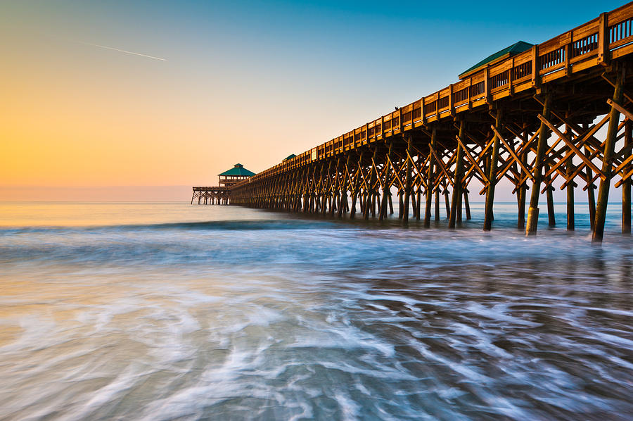 Folly Beach Pier Charleston Sc Coast Atlantic Ocean Pastel