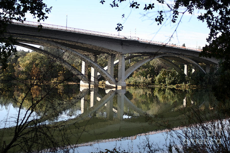 Bridge Photograph - Folsom Bridge-watercolor by Melanie Rainey