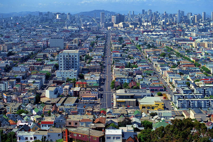 Folsom Street, Bernal Heights Park Summer Evening Cityscape, San Francisco, California 1990 Photograph