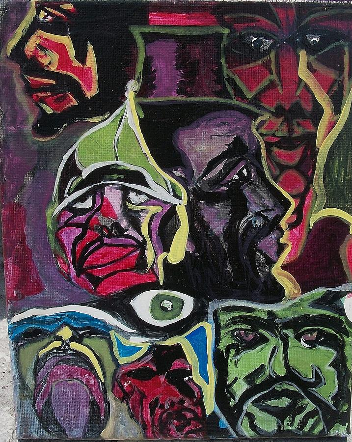 Abstract Faces Painting - F.o.m.4 by Michael Henzel