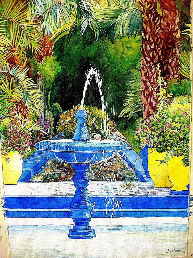 Fontaine - Jardin Majorelle - Marrakech Painting by Francoise Chauray