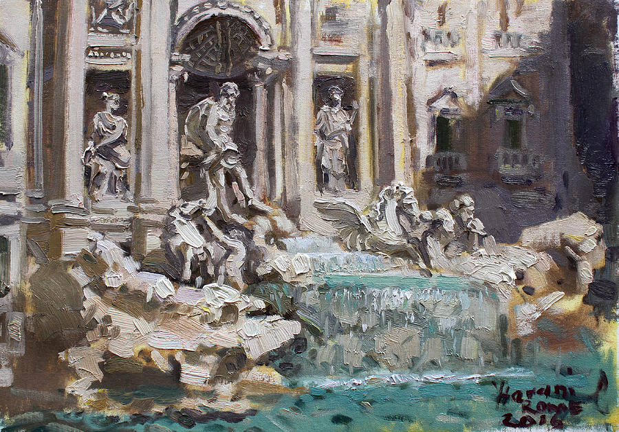 Fontana Di Trevi Painting - Fontana Di Trevi Rome by Ylli Haruni