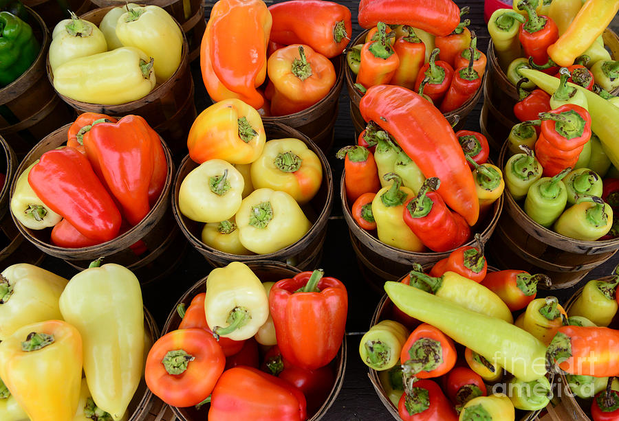 Food Basket Photograph - Food - Peppers by Paul Ward