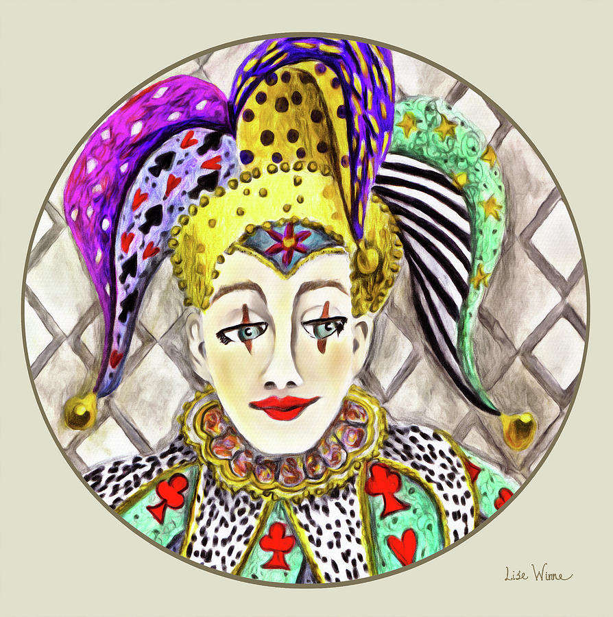 Fools, Jester button Painting by Lise Winne