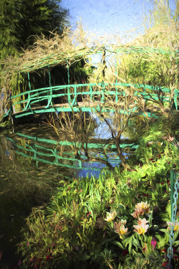 Path Photograph - Foot Bridge Reflections In Monets Garden by David Smith