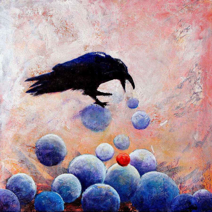 Raven Painting - Foot-falls Tinkled by Sandy Applegate