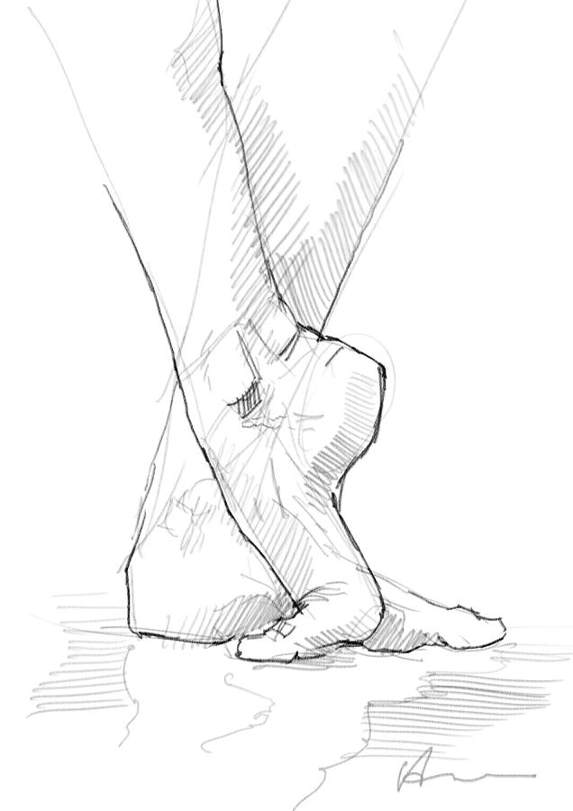 Foot Study Drawing By H James Hoff