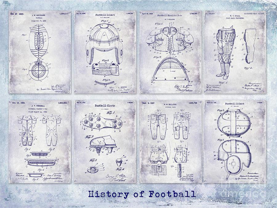 Football Photograph - Football Patent History Blueprint by Jon Neidert
