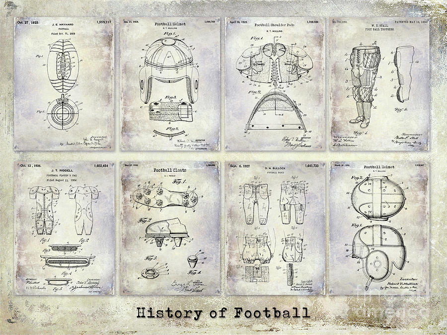 Football Photograph - Football Patent History by Jon Neidert