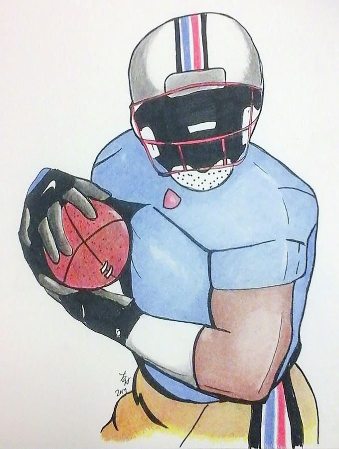 Game Drawing - Football Player by Loretta Nash