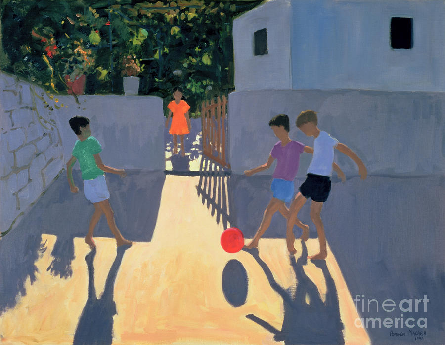 Children Painting - Footballers by Andrew Macara