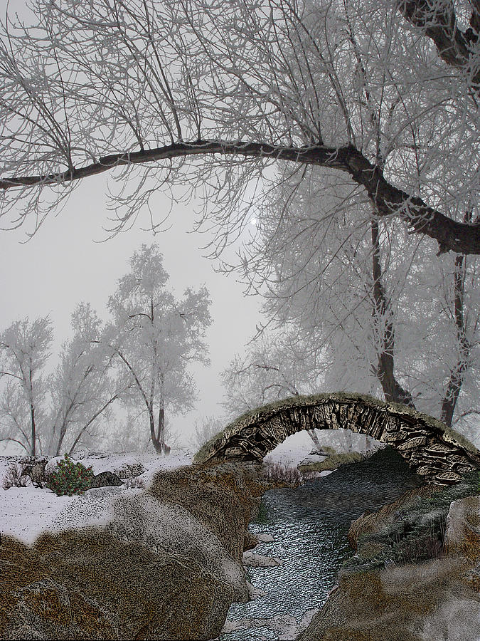Snowy Digital Art - Footbridge Over The Creek by Julie Rodriguez Jones