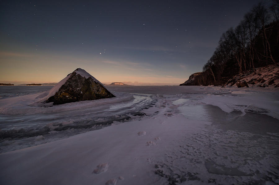 Bay Photograph - Footprints In Snow Around The Pyramid Rock by Jakub Sisak