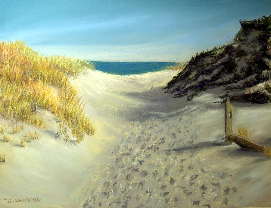 Beach Path Pastel - Footprints In The Sand by Joan Swanson
