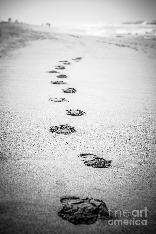 Footprints In The Sand Picture In Black And White Photograph