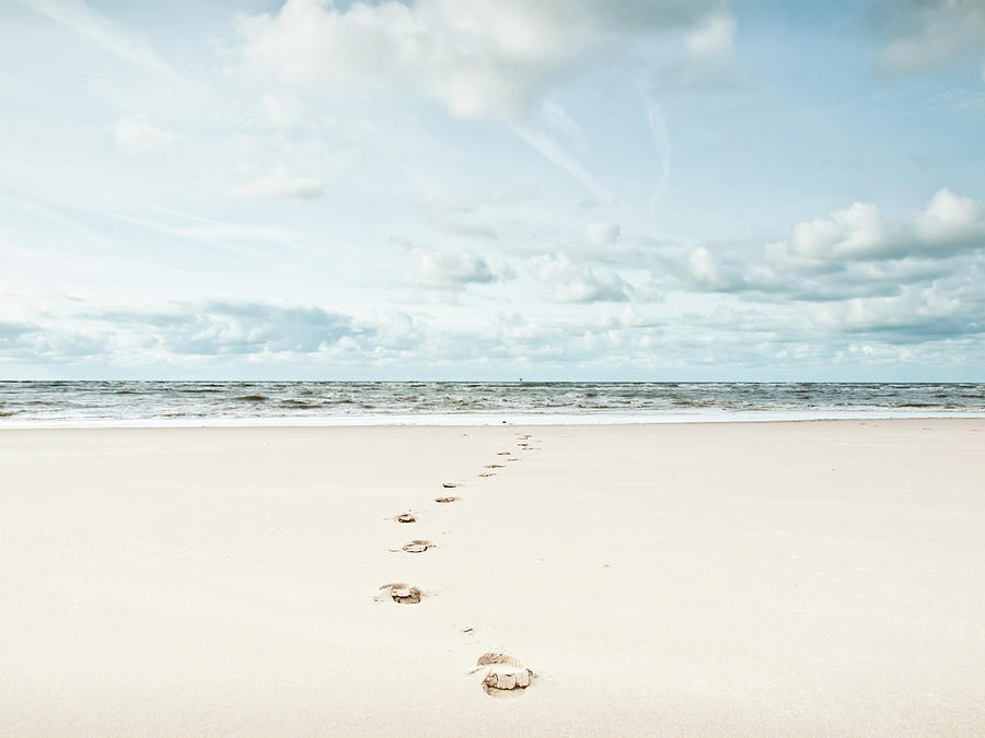 Horizontal Photograph - Footprints Leading Into Sea by Dune Prints by Peter Holloway