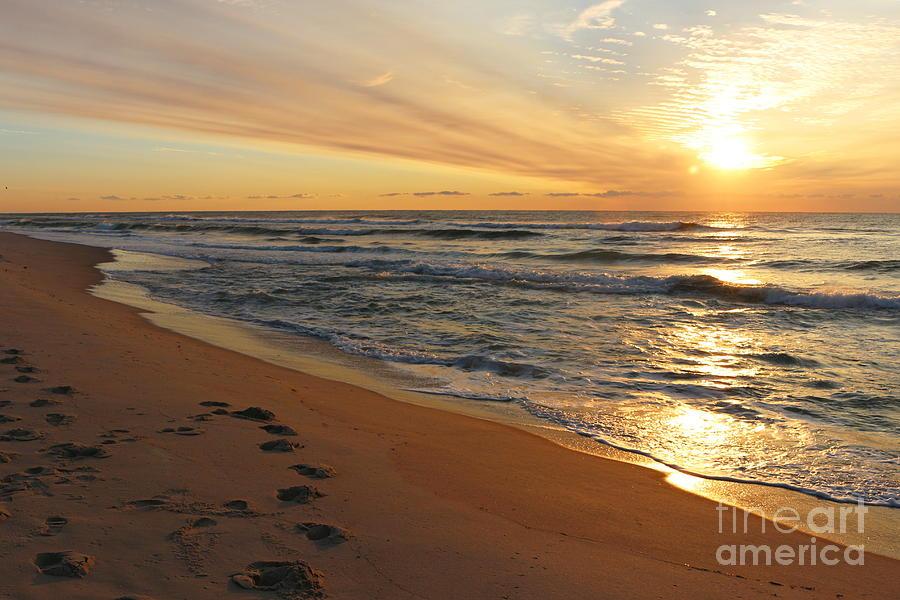 Sunrise Photograph - Footsteps At Sunrise by Maria Pogoda