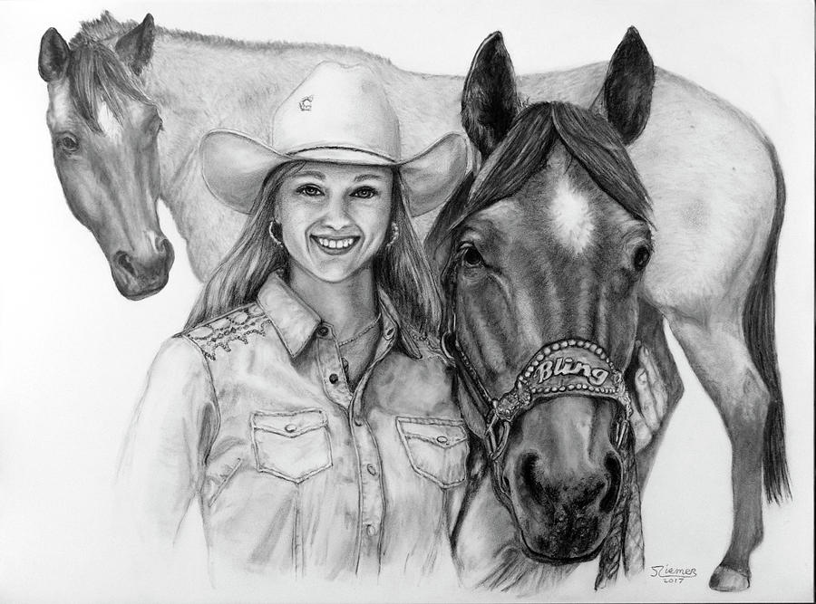 Horse Drawing - For Bling by Jim Ziemer