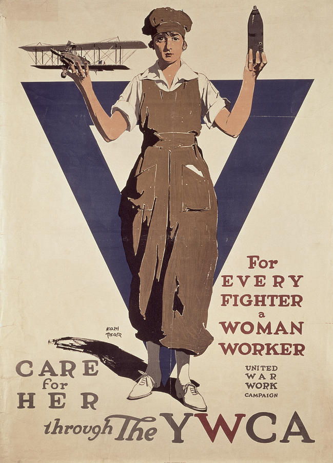 Propaganda Painting - For Every Fighter A Woman Worker by Adolph Treidler