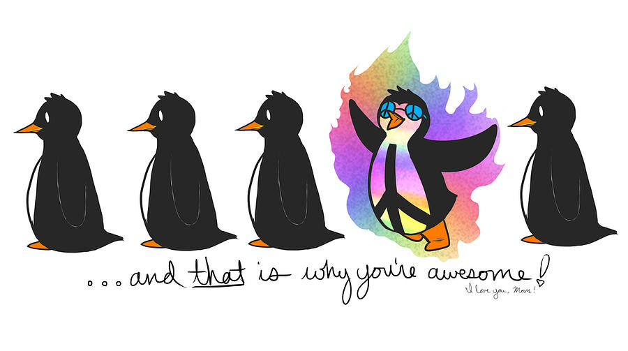 Penguins Digital Art - For Mom by Sunshine Ammerman