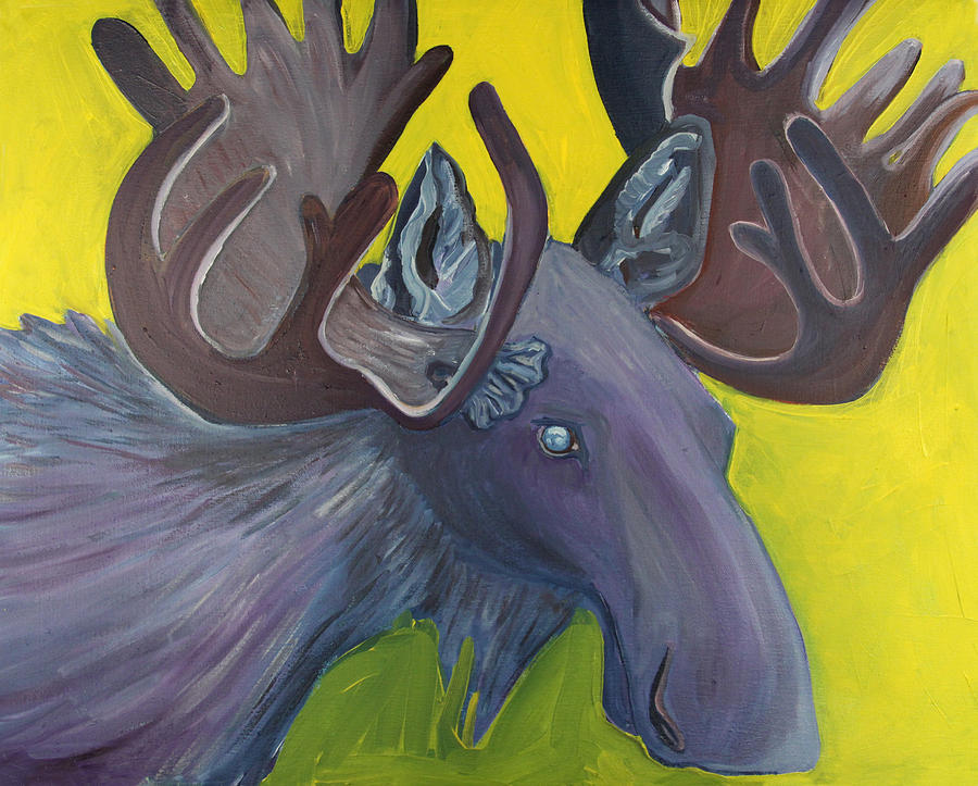 Moose Painting - For Purple Mooses Majesty by Amy Reisland-Speer