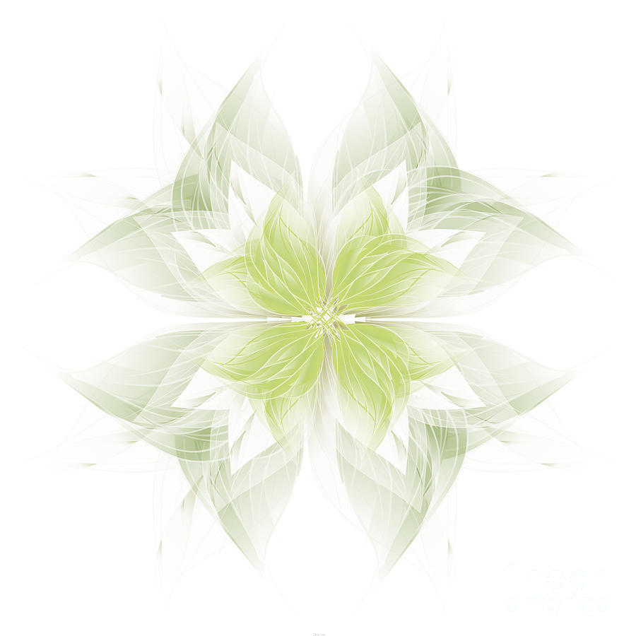 Flora Digital Art - Flora White Green by Carina Kivisto