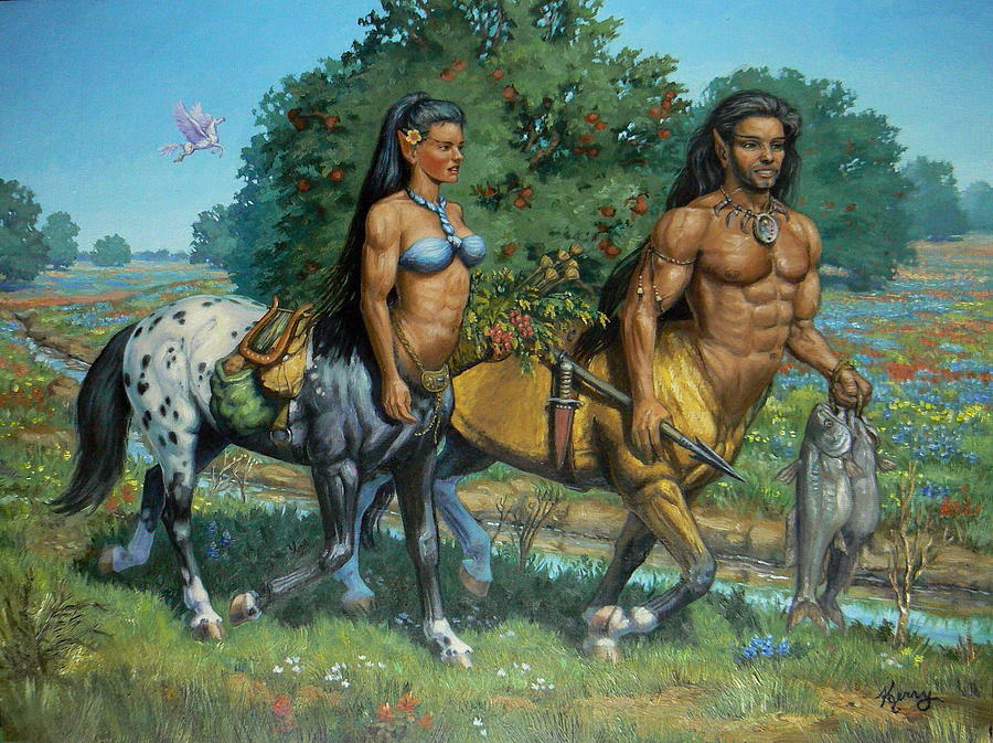 Centaurs Painting - Foragers Tryst by Kerry Nelson