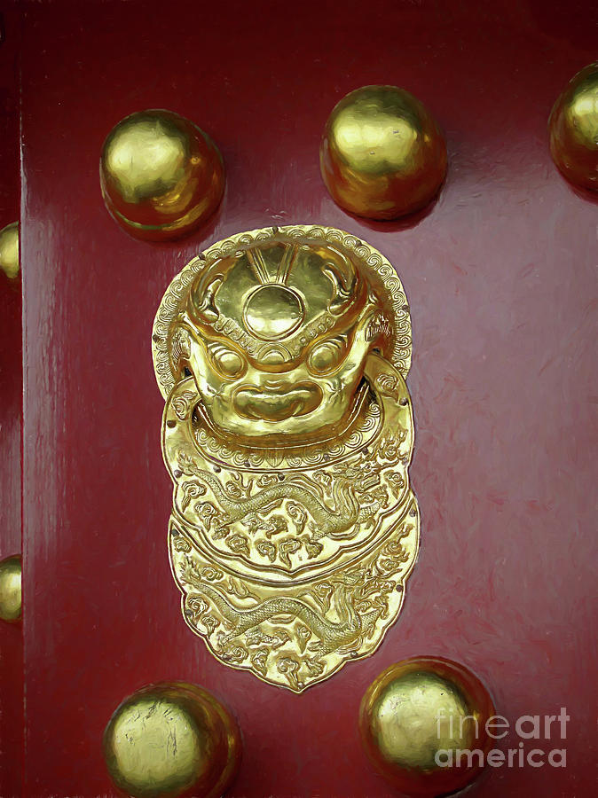 Forbidden City Digital Art - Forbidden City Door by Elisabeth Lucas