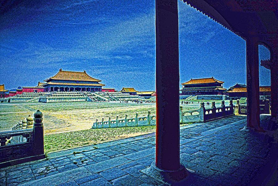 China Photograph - Forbidden City Porch by Dennis Cox