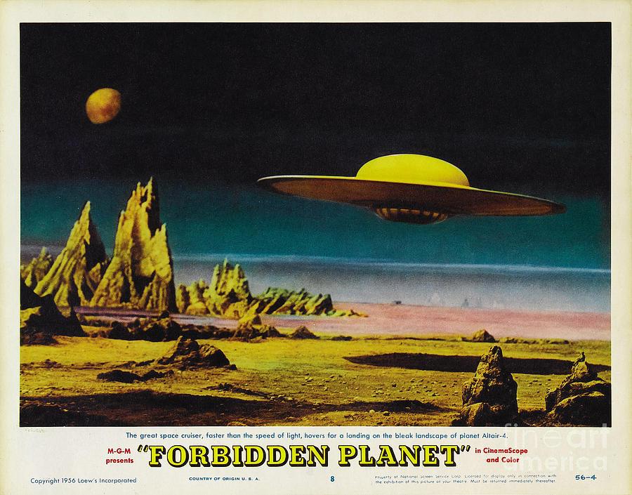 forbidden planet in cinemascope retro classic movie poster detailing