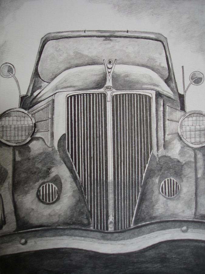 Classic Cars Drawing - Ford - Classic by Zedi Qureshi
